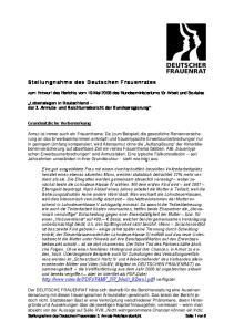 Stellungnahme des Deutschen Frauenrates