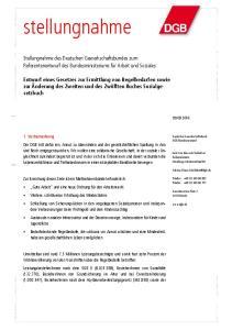 Stellungnahme des Deutschen Gewerkschaftsbundes zum Referentenentwurf des Bundesministeriums für Arbeit und Soziales