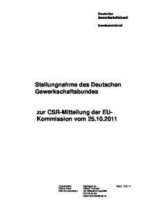 Stellungnahme des Deutschen Gewerkschaftsbundes