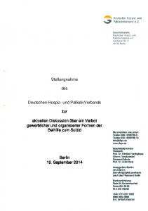 Stellungnahme. des. Deutschen Hospiz- und PalliativVerbands. zur