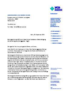 Stellungnahme des VCD zum Entwurf eines Gesetzes zur Bevorrechtigung des Carsharing (Carsharinggesetz - CsgG)