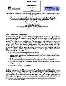 Stellungnahme für die öffentliche Anhörung des Verteidigungsausschusses des Deutschen Bundestages am 30. Juni 2014: