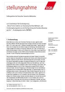 stellungnahme Stellungnahme des Deutschen Gewerkschaftsbundes