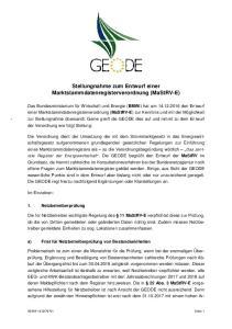 Stellungnahme zum Entwurf einer Marktstammdatenregisterverordnung (MaStRV-E)