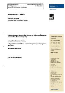 Stellungnahme zum Entwurf eines Gesetzes zur Weiterentwicklung des Strommarktes (Strommarktgesetz)