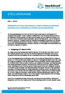 Stellungnahme zum Entwurf eines Gesetzes zur weiteren Verbesserung des Hochwasserschutzes und zur Vereinfachung von Verfahren des Hochwasserschutzes