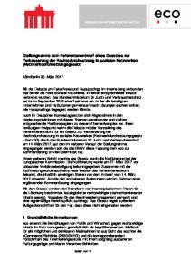 Stellungnahme zum Referentenentwurf eines Gesetzes zur Verbesserung der Rechtsdurchsetzung in sozialen Netzwerken (Netzwerkdurchsetzungsgesetz)