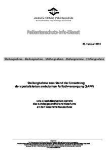 Stellungnahme zum Stand der Umsetzung der spezialisierten ambulanten Palliativversorgung (SAPV)