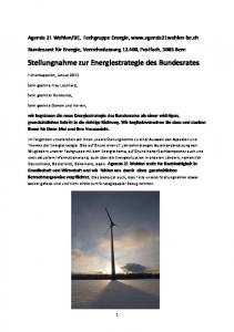 Stellungnahme zur Energiestrategie des Bundesrates