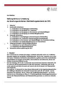 Stellungnahme zur Umsetzung der forschungsorientierten Gleichstellungsstandards der DFG