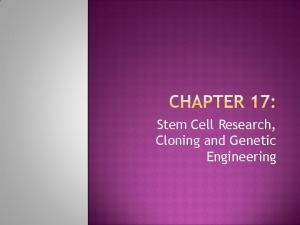 Stem Cell Research, Cloning and Genetic Engineering