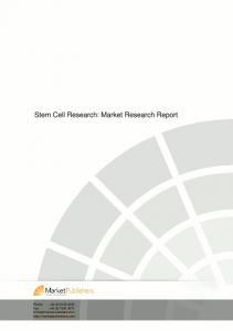 Stem Cell Research: Market Research Report