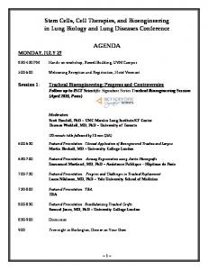 Stem Cells, Cell Therapies, and Bioengineering in Lung Biology and Lung Diseases Conference AGENDA