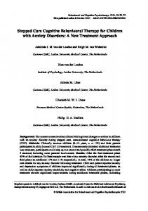 Stepped Care Cognitive Behavioural Therapy for Children with Anxiety Disorders: A New Treatment Approach