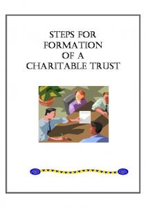 STEPS FOR FORMATION OF A CHARITABLE TRUST