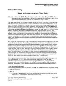 Steps for Implementation: Time Delay