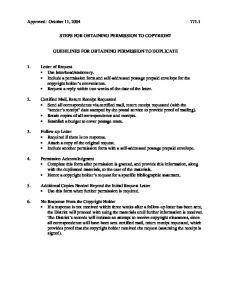 STEPS FOR OBTAINING PERMISSION TO COPYRIGHT GUIDELINES FOR OBTAINING PERMISSION TO DUPLICATE