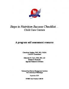 Steps to Nutrition Success Checklist Child Care Centers