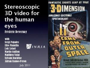 Stereoscopic 3D video for the human eyes
