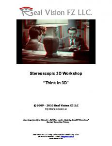 Stereoscopic 3D Workshop. Think in 3D