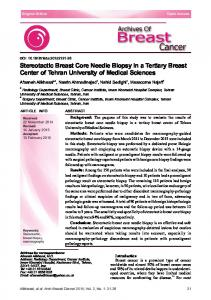 Stereotactic Breast Core Needle Biopsy in a Tertiary Breast Center of Tehran University of Medical Sciences