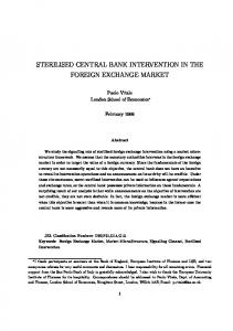 STERILISED CENTRAL BANK INTERVENTION IN THE FOREIGN EXCHANGE MARKET
