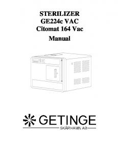 STERILIZER GE224c VAC Citomat 164 Vac Manual