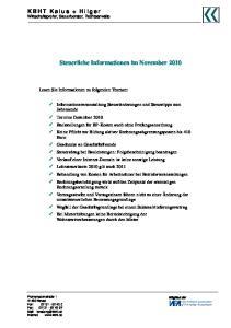 Steuerliche Informationen im November 2010