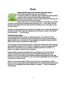 Stevia Sweeten Food the Natural Way with Safe, Super-Sweet Stevia! Growing Your Own Stevia