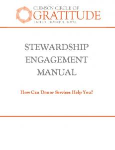 STEWARDSHIP ENGAGEMENT MANUAL. How Can Donor Services Help You?