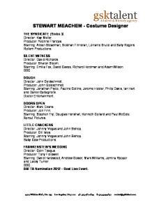 STEWART MEACHEM - Costume Designer