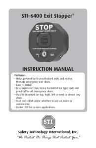 STI-6400 Exit Stopper INSTRUCTION MANUAL