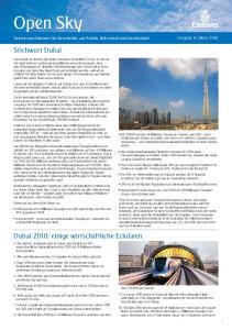 Stichwort Dubai. Dubai 2010: einige wirtschaftliche Eckdaten