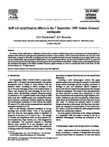 Stiff soil ampli cation effects in the 7 September 1999 Athens Greece) earthquake