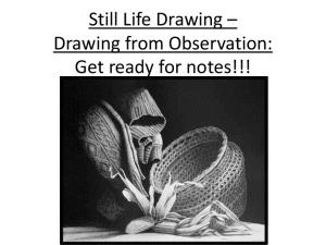 Still Life Drawing Drawing from Observation: Get ready for notes!!!