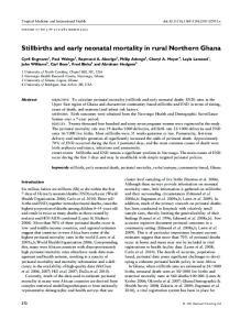 Stillbirths and early neonatal mortality in rural Northern Ghana