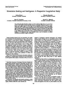 Stimulation Seeking and Intelligence: A Prospective Longitudinal Study