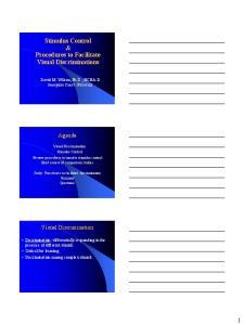 Stimulus Control & Procedures to Facilitate Visual Discriminations
