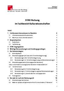 STiNE-Nutzung im Fachbereich Kulturwissenschaften