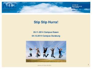 Stip Stip Hurra! Campus Essen Campus Duisburg