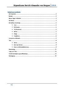 Stipendiums-Bericht Alexander von Bergner 2010