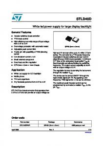 STLD40D. White led power supply for large display backlight. General Features. Application. Description. Order code