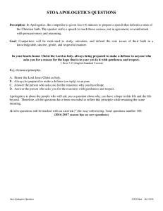 STOA APOLOGETICS QUESTIONS