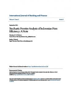 Stochastic Frontier Analysis of Indonesian Firm Efficiency: A Note