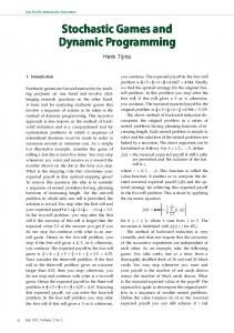 Stochastic Games and Dynamic Programming