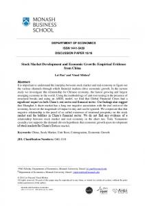 Stock Market Development and Economic Growth: Empirical Evidence from China
