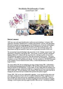 Stockholm Bioinformatics Centre Annual Report 2009