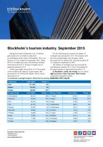 Stockholm s tourism industry. September 2015