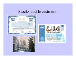 Stocks and Investment
