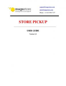 STORE PICKUP USER GUIDE Version 1.0